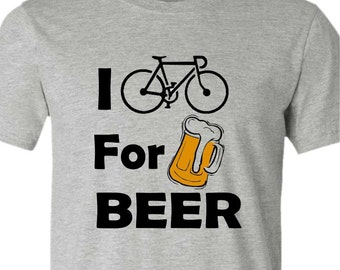Bicycle T-Shirt -I BIKE for BEER- Road Bike tee-Available in 4 colors- Cycling T-Shirt,Bike Gift,bike t-shirt,beer gift,funny bike shirt