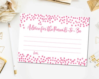 Pink Baby Shower Games, Advice for Parents-To-Be Printable Card, Advice Card, Baby Shower Printable Game, Pink Shower Instant Download BB14