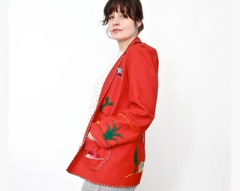Vintage Embroidered Coat . 1950s Mexican Souvenir Jacket . Size Small / Medium