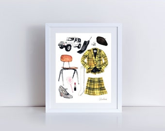 Clueless Movie Collage Cher Horowitz Beverly Hills - ORIGINAL Watercolor Painting - 90's Nostalgia High School Style Cult Classic