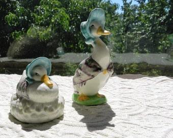2 Vintage Authentic Beswick Beatrix Potter Figurines - Jemima Puddleduck & Made a feather nest