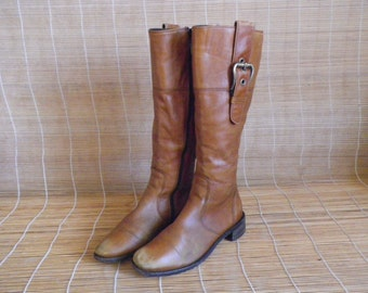 Vintage Tan Brown Leather Zip Up Riding Boots Size EUR 38 / US Woman 7 1/2 Hogl