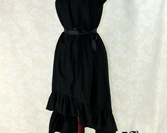 """Steampunk Cap Sleeved Ragamuffin Dress in Black Cotton -- Size XL, Fits Bust 44""""-48"""" -- Ready to Ship"""
