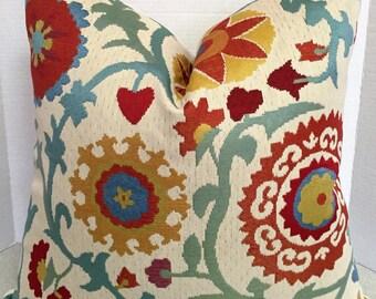 20 x 20 Pillow Cover Tasha Candy Shop orange teal aqua red gold jacquard flower suzani floral bright