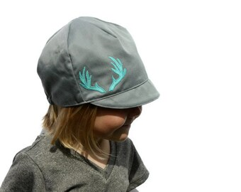 Girls Antler Hat, Wee Dee Cap, Feather Hat, Modern Baby Hat, Girls Grey Hat, Baby, Toddler, Child or Kids Hat -  XS, S