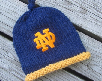 NOTRE DAME Hand Knit Baby Hat - Fighting Irish Baby Hat - Notre Dame Hand Knitted Baby Hat