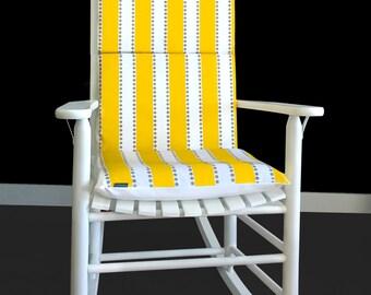 Rocking Chair Cushion - Lulu Stripe Yellow Taupe, Ready to Ship
