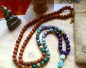 108 Mala Necklace wrap bracelet with tassel Hamsa Hand & Ohm charm. Rudraksha seed Amethyst Agate mala. Yoga Necklace, Meditation Jewelry