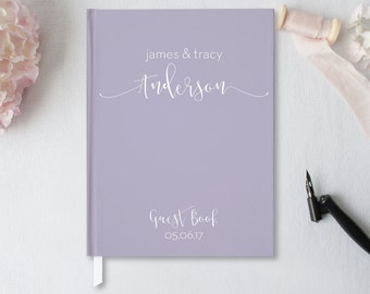 Wedding Guest Book, Wedding Guestbook, Custom Guest Book, Personalized Guest Book, Lavender Wedding Journal, Hardcover Guestbook GB-BB