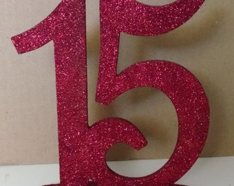"""Wooden Table Numbers 1-20 with 1/4"""" base Glitter Wood Table Numbers  MDF Wedding Table Number Unique Big Table Number"""