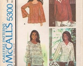 Great Boho Uncut Vintage 1970s McCall's 5300 Marlo's Corner Set of Peasant Style Tunic Tops Sewing Pattern B36 to 38