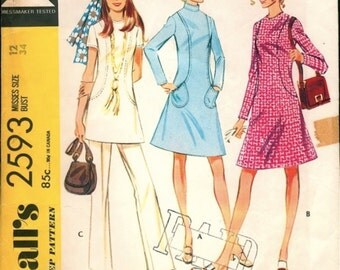 Hip and Mod Vintage 1970s McCall's 2593 Seam Interest A-line Dress or Tunic Top and Pants Sewing Pattern B34