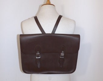 Vintage large brown real leather backpack school satchel preppy shoulder bag back pack
