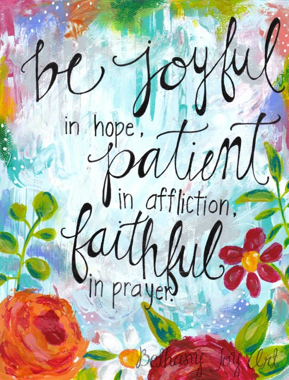 "Inspirational Art: ""Joyful in Hope"" - 8.5x11 Print"
