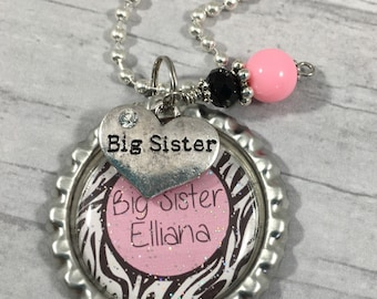 Big SISTER Gift / New Sibling Gift / BABY Announcement / Little Sister Gift / Personalized Necklace / Little Girls Jewelry / Granddaughter /
