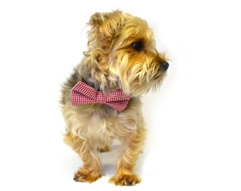Red Gingham Checkered Dog Bow Tie