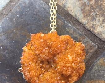 Yellow/orange druzy necklace