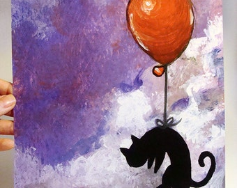 Clearance Sale: Black Cat Print, 8x10 Wall Art, Red Balloon Decor, Animal Nursery, Purple Sky, Bedroom Poster, Pet Owner Gift