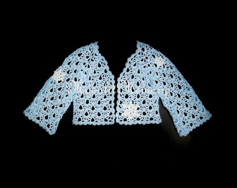 Snowflakes Sweater Jacket size XL Hand Crocheted Blue Sweater Metallic USA
