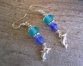 silver dolphin and sea glass earrings, tropical sea earrings, hawaiian jewelry, beach glass earrings
