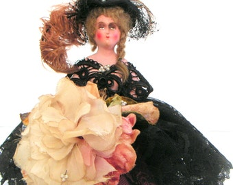 Antique Doll,Half Doll,Pincushion Doll,Boudoir Pincushion Doll,Victorian,Black Lace,Feathered Hats,Hand Painted