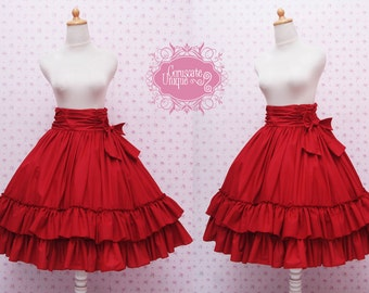 Bright Red High Waist Pleated Victorian Doll Ruffle Skirt - Red Classic Lolita Skirt - Ruffle Rococo Victorian Inspired