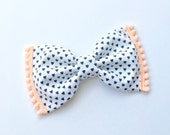 Mini Black & White Hearts  Peach Pom Trim Bow // Hair Clip or Headband