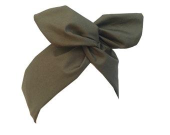 Khaki green army girl Headband Pin up Hair Wrap