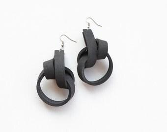Black earrings, knot earrings, sculptural earrings, foam earrings, long earrings, gift for her, ultralight earrings, summer trends