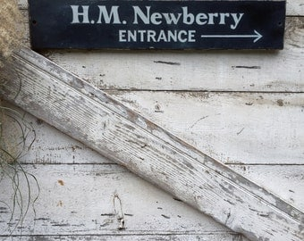 Vintage Advertising Sign - H M Newberry - Black and White -  Hand Painted - Entrance Sign