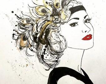 Golden Feathers - Fashion Illustration, Ink Sketch Drawing, Pen and Ink, Pastel, Fine Art Print, Giclee, Original Art, Fascinator,