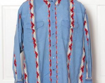 Vintage WRANGLER Southwest Style Cowboy Shirt
