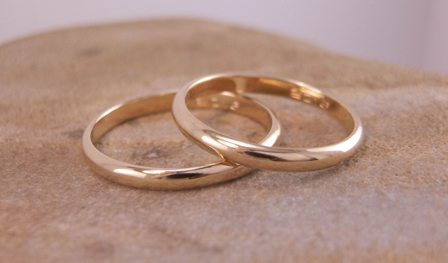 yellow gold wedding band individual or set engraveable half round traditional simple wedding band hand made in 14 kt yellow gold