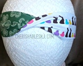 4 Leaf Clover Headband - Easter Candy Reversible Headband - Elastic Band - Holiday - Teacher Gift - St. Patrick's Day - OOAK - Ready to Ship