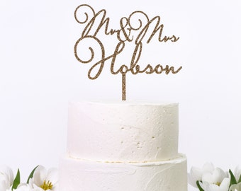 Personalised Mr & Mrs Script Style Cake Topper - Wedding Engagement Anniversary Cake Decoration
