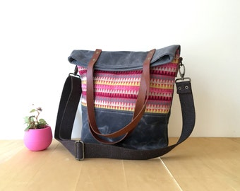 Waterproof Foldover Bag in Grey and Pink 2 - Convertible Tote - Waxed Canvas Base - Cotton Adjustable Strap - Leather Handles - Grey Lining