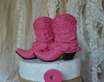 cowgirl boots birthday party bridal shower girl's cake topper western cowgirl themed pink boot topper sheriff Callie small boots baby shower