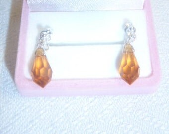 Swarovski Crystal topaz & sterling silver earrings