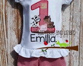 Birthday Farm Number Top and Gingham Ruffle Shorts Outfit Size 12M-18M, 2T-5T, 6