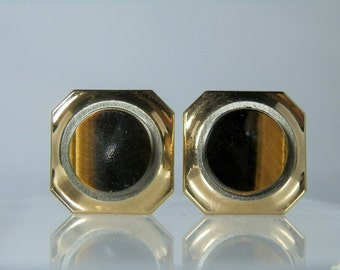 Vintage Jewelry Cufflinks Tigers Eye Cuff links Gold Plated Excellent Condition Men's or Women's Accessories Gift Quality DanPickedMinerals