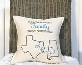 """12"""" Distance Pillow - You Choose the Cities and States - Going Away Gift - Customizable Pillow - For Her - Cotton Canvas - Insert Included"""