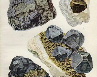 Vintage 1911 Minerals Print Antique Gems Precious Stones print gemstones print, bookplate art print, minerals wall print wall art 5