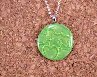 Green Shamrock  Polymer Clay Necklace