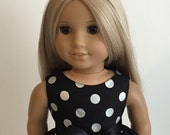 Black and Silver Metallic Dot Dress and Sash for the American Girl Doll