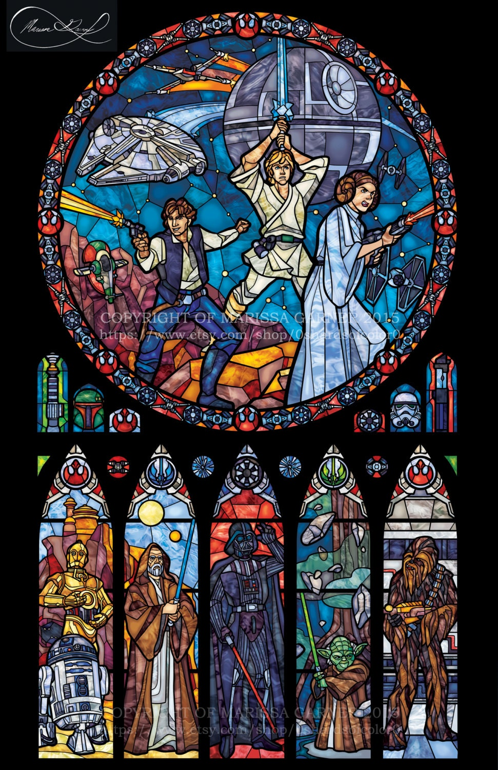Full size star wars classic transparency stained glass for Window design minecraft