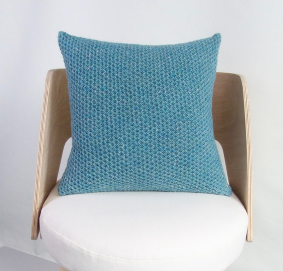 Knitting Pattern For Cushion Cover Chunky Wool : SALE Chunky Wool Cushion Chunky Knit Wool Pillow Cover Blue