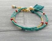 Turquoise Wrap Bracelet / Double Wrap Bracelet / Valentines Gift Idea For Her / Boho Wrap Bracelet / Wrap Around Bracelet / Jewelry Gift