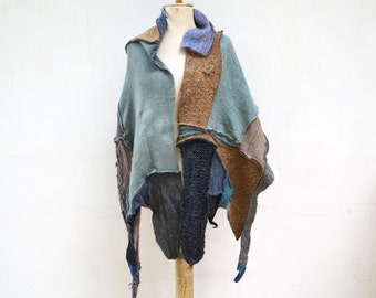 Hand knited shawl, wrap scarf, shrug mint green, beige, blue, grey, asymmetrical unique OOAK,soft wool felt cappucino, beige art to wear