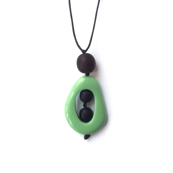 Resin Nursing Necklace Non Toxic 'Twiddle Buster' Pendant -Monkey Mama- Green and Chocolate Brown