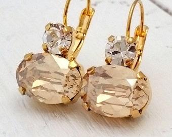 Champagne drop earrings, Champagne bridal earrings, Champagne bridesmaids earrings,Dangle earrings,Swarovski earrings,Gold earrings,weddings
